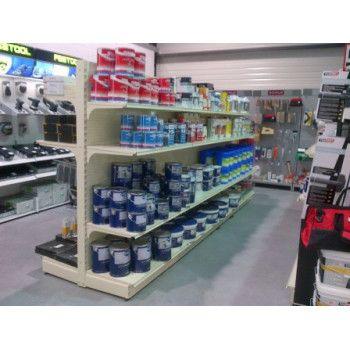 Gondole double-face magasin peinture et revêtement de sols