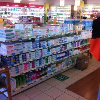 Agencement de pharmacie gondole centrale