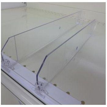 Séparateur pour tablette de gondole en plexiglass