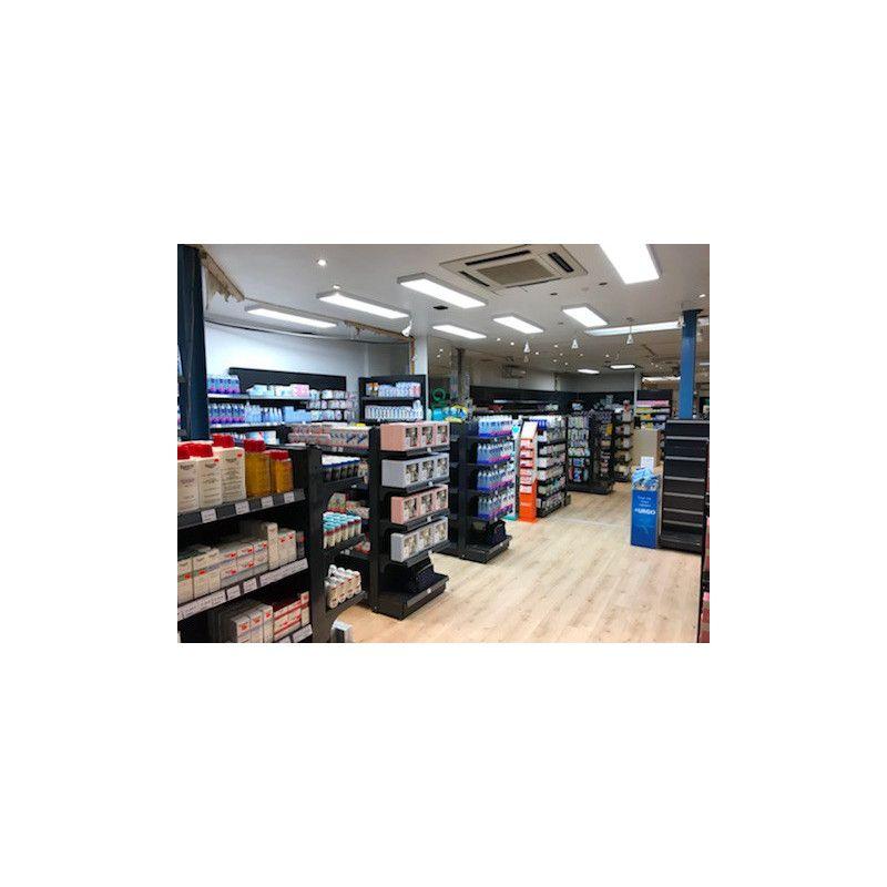 Presentoire centrale anthracite avec tete de gondole pour pharmacie officine et parapharmacie noir