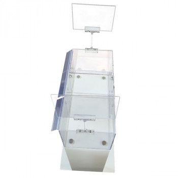 Presentoir transparent avec porte affiches trois compartiments